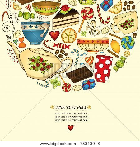 Tea, coffe and sweets doodle template patern invitation.