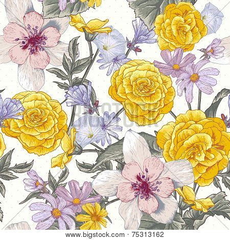 Seamless floral botanical pattern with wildflowers