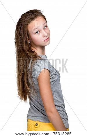 Girl Standing Backwards And Turned