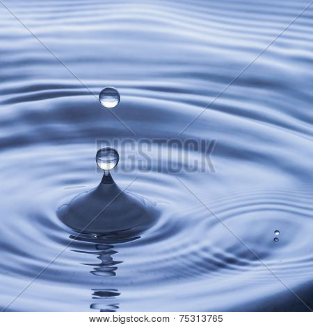 Blue Water Drop Falling Down, Water Splash