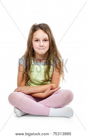 Young Girl Sitting On Floor