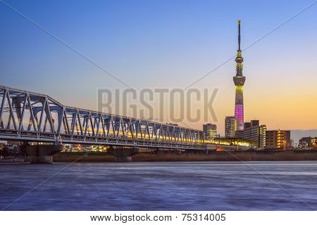 TOKYO, JAPAN - MARCH 18, 2014: Tokyo cityscape with Tokyo Skytree on the Arakawa River.The Skytree is the tallest structure in Japan and second tallest in the world.