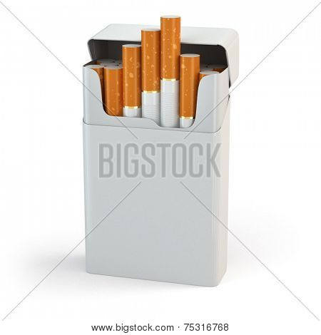 Open full pack of cigarettes isolated on white background. 3d