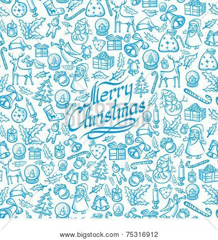 Seamless Vector Christmas and New Year background. You can easy multiply it
