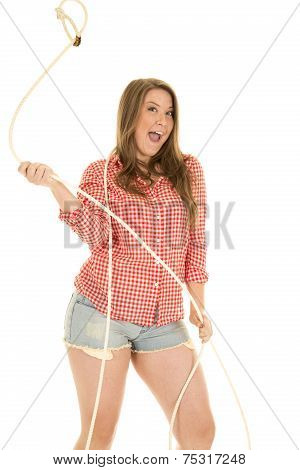 Cowgirl Red White Shirt Rope Twirl