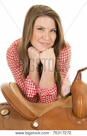 Cowgirl Red White Shirt Saddle Hands Under Chin