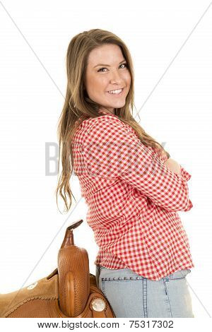 Cowgirl Red White Shirt Saddle Lean Back
