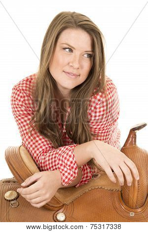 Cowgirl Red White Shirt Saddle Look Side Smile