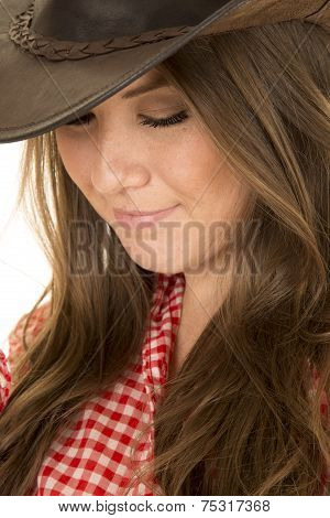 Cowgirl Red White Shirt Close Look Down Hat