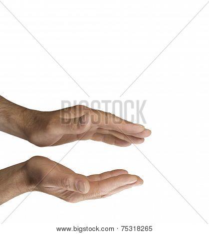 Healer's parallel hands on white background