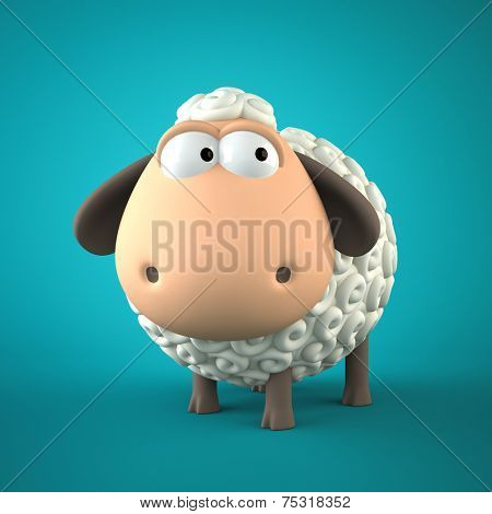 Symbol of 2015. Sheep on blue background. Illustration of 2015 year of the sheep.