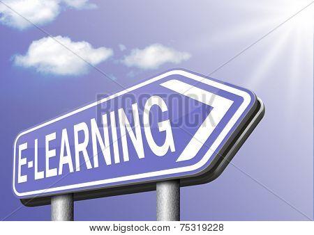 e-learning online education internet learning in open school or university virtual elearning