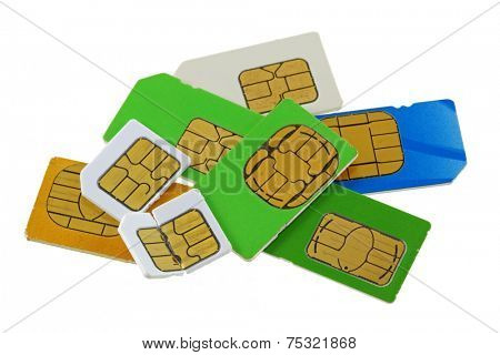 A group of old and used Subscriber Identity Module (SIM) cards, one is bent and broken
