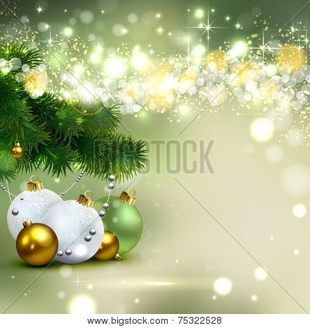 shine Christmas background with evening balls and green fir-tree