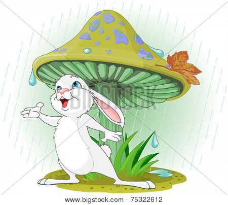 Cute rabbit wearing rain gear under mushroom