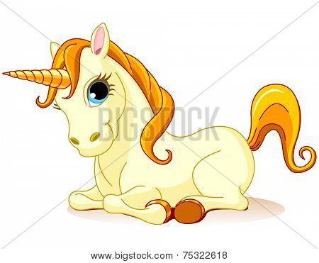 Illustration of golden Unicorn is lying