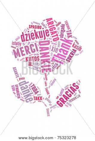 Conceptual text word cloud with rose flower shape Thank You