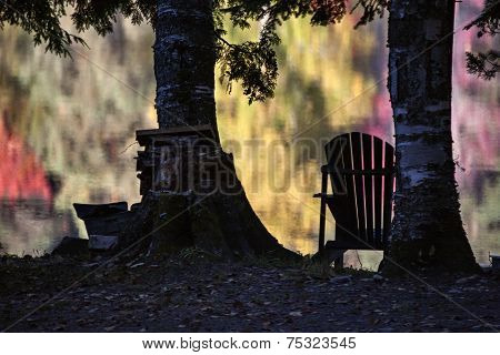 Beach Chairs In Autumn