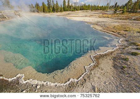 Colorful Hot Springs On A Summer Day