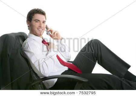 Businessman Relaxed Sit On Chair Talking Mobile Phone