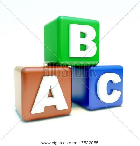 Abc Text On The Colored Boxes