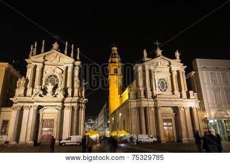 The twin churches in San Carlo Square by night, Turin