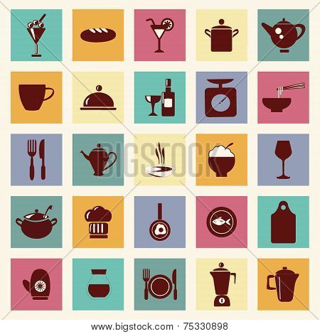 Vector Restaurant , Food And Beverage Icons-set - Illustration