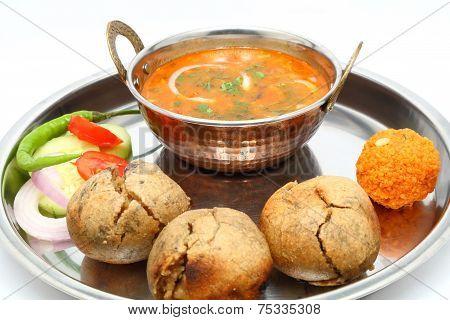 Traditional Rajasthani Food Daal Baati. Indian Food. Dal Bati.