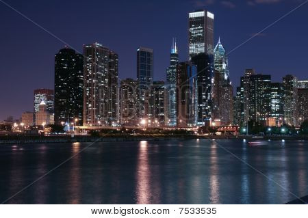 Chicago skyline and reflection
