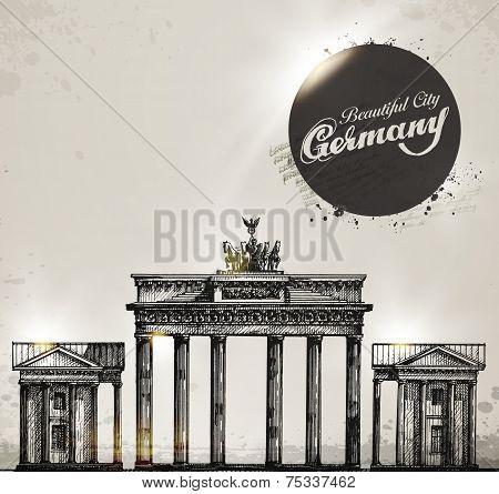 Brandenburg gate. Berlin arch symbol. Hand drawn pencil sketch vector illustration