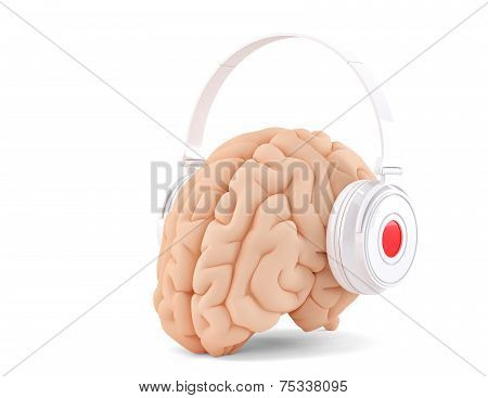 Brain With Headphones. Isolated. Cotains Clipping Path