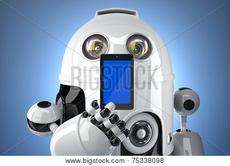 Robot With Mobile Phone. Contains Clipping Path