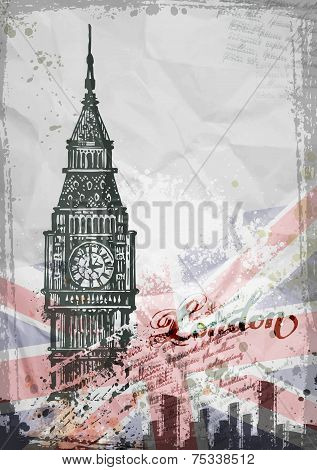 Big Ben, London, England, UK. Hand Drawn Illustration