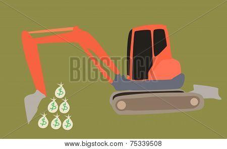 Excavator Digs Money Bags
