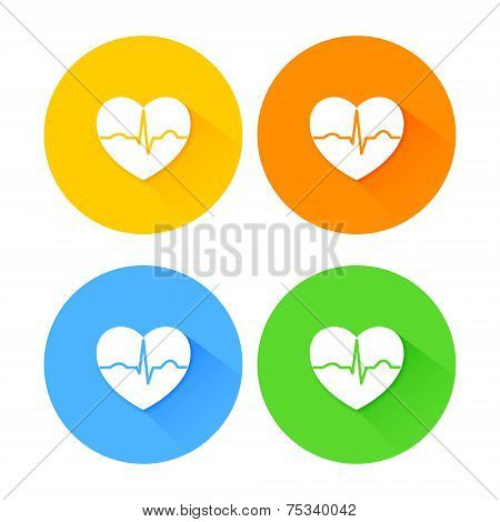 Set of flat long shadow heart icons
