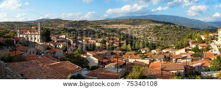 Panoramic View Of Lofou Village. Limassol District, Cyprus.