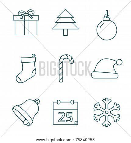Christmas outline icons