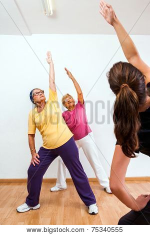 Personal Trainer Doing Aerobic With Senior Ladies.