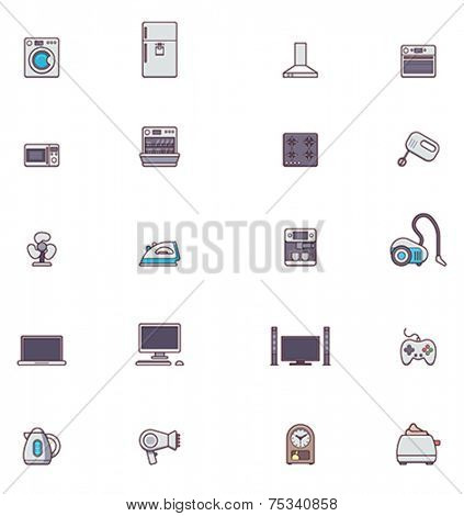Set of the Domestic appliances related icons