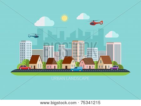 Modern flat design urban landscape vector illustration