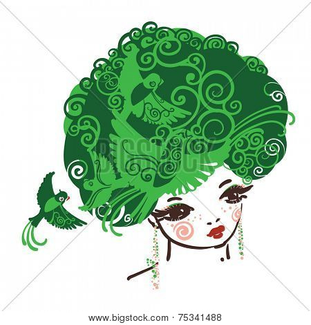 Girl with the curly volume hairs full of birds. Symbol of Nature and green living.