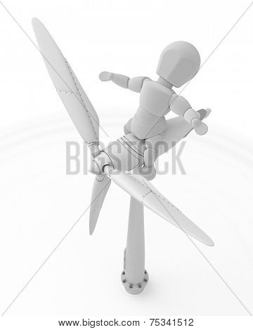 3D render of a man with wind turbine