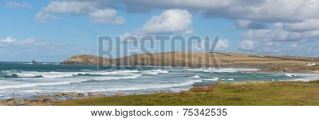 Panorama Constantine Bay Cornwall England UK Cornish north coast