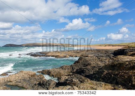 Constantine Bay Cornwall England UK Cornish north coast between Newquay and Padstow blue sky