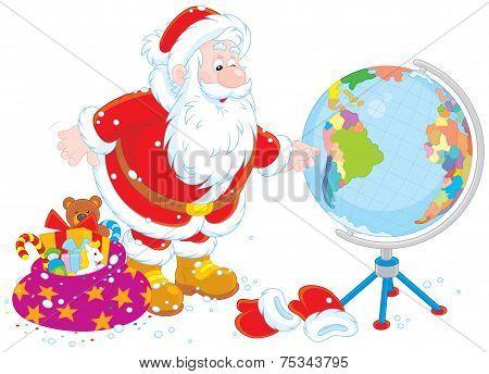 Santa Claus with a globe