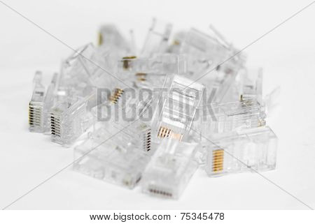 Network Cable RJ45 Head on white background