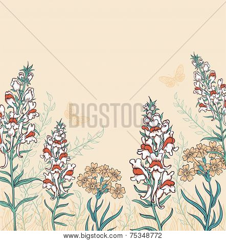 Background With Wildflowers And Butterflies