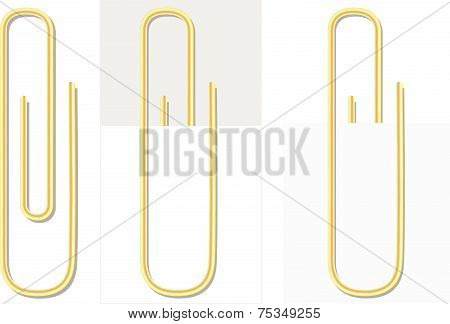 Gradient Mesh Vector Of Paper Clip In Gold Color On White