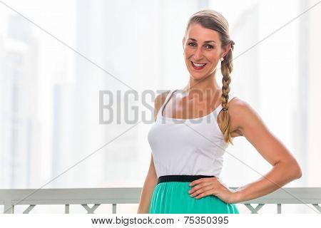 Young woman enjoying view in metropolitan city Dubai