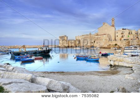 Landscape view of Giovinazzo touristic port. Apulia.